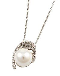 """18"""" + EXT Rhodiumized Clear Cubic Zirconia & White Pearl Pendant Necklace Retail - $30.65 You Pay - $15.33 w/ free shipping in the US."""