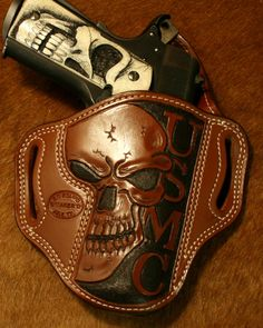 Colt 1911 with Skull Pistol Grips & Skull USMC Leather Holster.