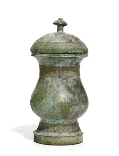 AN ARCHAIC BRONZE WINE VESSEL, ZHI, AND A COVER<br>SHANG DYNASTY | Lot | Sotheby's