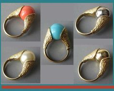 So VERSATILE-Trifari Mod Interchangeable Stone Ring,Gold Tone with Coral,Silver,Gold,Blue,Pearl Costume Stones,Vintage Jewelry,Women