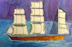 Water colour Clipper ship art idea from Deep Space Sparkle