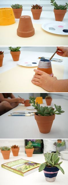 How to paint a flower pot :: a gorgeous art project and gardening project combined.