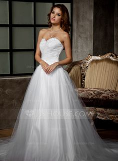 Wedding Dresses - $159.29 - Ball-Gown Sweetheart Chapel Train Satin Tulle Wedding Dress With Ruffle Lace Beading (002011676) http://jjshouse.com/Ball-Gown-Sweetheart-Chapel-Train-Satin-Tulle-Wedding-Dress-With-Ruffle-Lace-Beading-002011676-g11676