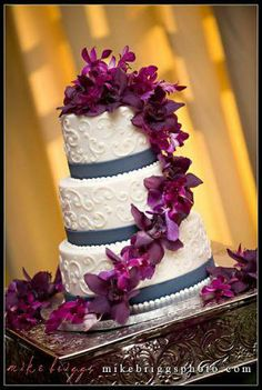 Would LOVE the flowers on a plain cake. Deep purple and aubergine dendrobium orchid cake decor (flowers by Lee Forrest Design, photo by: Mike Briggs Photography) Dendrobium Orchids, Purple Orchids, Orchid Cake, Plain Cake, Floral Cake, Orlando Wedding, Gorgeous Cakes, Deep Purple, Event Design