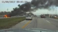 Newly released dashcam video shows a Ohio Highway Patrol trooper help pull a man to safety from a burning car just moments before it explodes.