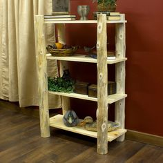 Cedar Lake Open Log Bookshelf - JHE's Log Furniture Place