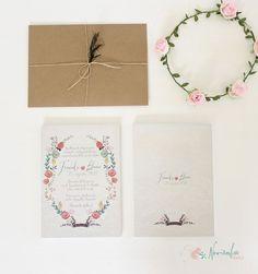 """Invitación de boda """"jardín vintage"""", con corona de flores. Rustic wedding invitation with floral crown"""