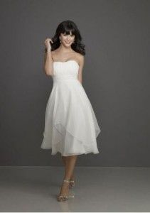 Korte strapless trouwjurk
