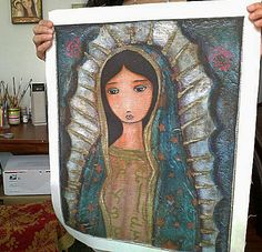 Virgen de Guadalupe  Large Print on Fabric from by FlorLarios, $45.00