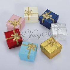 Wholesale Lots 24pcs RANDOM Color Jewelry Ring Earring Box Gift Box 4*4*3cm HOT