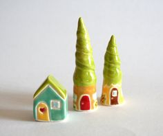Fairy Gnome Tree House Miniature Ceramic Little House green yellow brown woodland. $20.00, via Etsy.