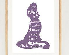 Tangled Rapunzel poster - minimalist Rapunzel silhouette wall art print - INSTANT DOWNLOAD - Disney princess printable