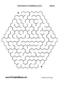 A printable PDF file with 10 simple mazes, one per page. Free to download and print