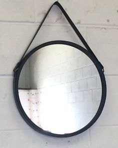 NEW Colonial Nautical Round Black Metal Faux Leather Strap Wall Mirror 40cm BNWT
