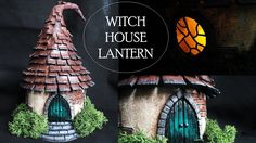 "How to turn a simple jar into a ""Witch's Hut"" Lantern for Halloween using polymer clay! Materials: - 1 Jar - Toothpick - Polymer Clay. I used Super Sculpey: ..."