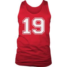Men's Vintage Sports Jersey Number 19 Tank Top for Fan or Player #19