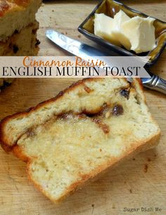 Cinnamon Raisin English Muffin Toast is a recipe for an amazing yeasted loaf bread full of those English Muffin nooks and crannies, cinnamon and raisins. Raisin Cake, Raisin Muffins, English Muffin Recipes, English Muffin Bread, Breakfast Tea, Breakfast Potatoes, Breakfast Recipes, No Rise Bread, Food Now