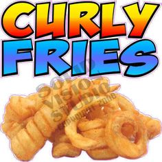 """7"""" Curly Fries Fry Fast Food Truck Cart Restaurant Concession Trailer Sign Decal #SolidVisionStudio"""