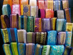 20 Yards Mixed Silk Sari Borders Sari Trim by RibbonsAndSilk Saree Border, Sari Fabric, Sari Silk, Passementerie, Fabric Squares, Vintage Fabrics, Unique Colors, Fall Wedding, Sewing Projects