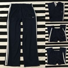"Nike men's athletic pants navy blue sz XL ⚽️ Nike men's athletic pants navy blue sz XL ⚽️ great used condition, no signs of wear, navy blue with white detail, length/inseam is 33"", drawstring elastic waistband, 2 side front pockets, zippers at bottom of pant legs⚽️ See other Nike and athletic wear listings in my closet (sz S-XXL-men's and women's) Nike Pants Track Pants & Joggers"
