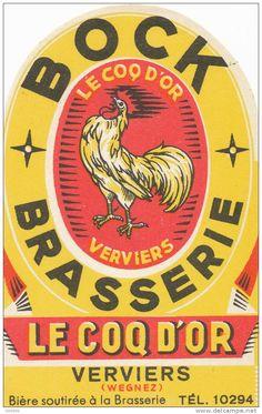 etiquette ancienne de bière-belge -brasserie le coq d'or-verviers