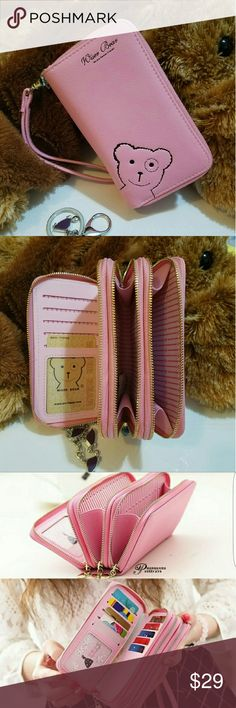 """""""Wiser Bear """" Phone Wrist Wallet  (Pink) 2017 Fashion Women Wrist Wallet ??Cute Bear Lady Handbag Clutch Zipper ??Multifunction Coin Purse ??Universal Phone Case Cover For iPhone 7 6S Samsung Galaxy S7 S6 Edge   ??Description Ingredient: High Quality PU Leather Size: 15 cm x 9.6 cm x 4.5 cm  (L x W x H) Note: Cellphones below 5.5 Inch  Structure: 3 Zipper Pockets 9 Credit Card Slots 1 Photo Frame Package Include: 1 x wallet    1 x Strap Wiser Bear  Bags Clutches & Wristlets"""