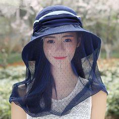 82a76d69d13 Protection sun hat veil design wide brim hats for women