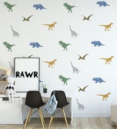 Dino decals are made with fabric material that gives them a great linen texture. The long neck Dinosaur stands at high for scale. This set comes with 30 decals.