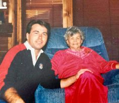 Joe Abbet with grandmother, Juanita Heatwole, celebrating her last Christmas, 1989.