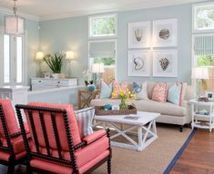 Coastal style with seashell prints and plenty of coral and teal colors from the Gulf of Mexico. From: House of Turquoise: AGK Design Studio Cottage Style Living Room, Style Cottage, Home Living Room, Living Room Decor, Living Area, Beach Living Room, Decor Room, Room Decorations, Wall Decor