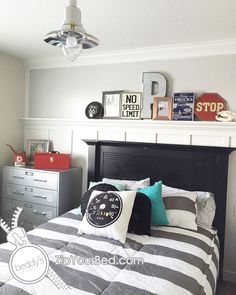 Boys room inspiration! Simple clean bedding.