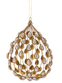 "The seasonal heaven  XN0619-GO/P                             8"" Pearl Teardrop Ornament Gold Pearl"