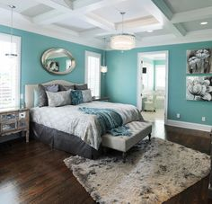 Grey/aqua color scheme.  Love these colors for kitchen