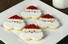 Santa cookies made with a heart-shaped cookie cutter
