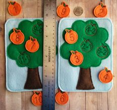 Please check processing times under shipping and policies. Most of my products are made to order. Teaching a child to subtract has never been more fun! Children match the subtraction problems on the felt tree with the answers embroidered on the oranges! The 2 American-made acrylic