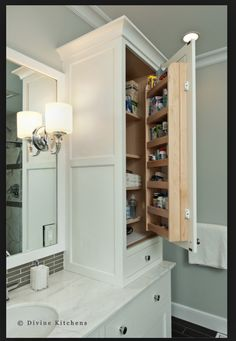 Ryan Likes The Extra Storage Capacity & Organization In This Bathroom Cabinetry.