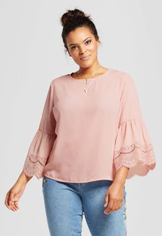 Plus Size Lace Bell Sleeve Blouse