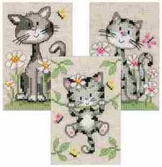 Cats and Flowers - Set 3 Cross Stitch Kit: Cross stitch (Vervaco, PN-0147743)