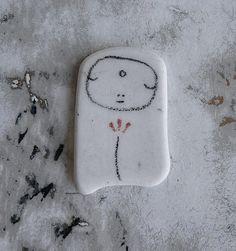 Beach Pottery Jizo Bodhisattva with Flower by LillaJizo on Etsy