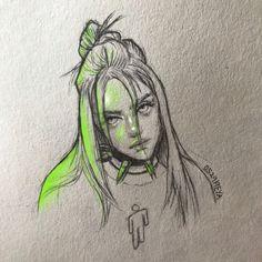 Billie Eilish - - art ♡ ☆ - - New Ideas Girl Drawing Sketches, Art Drawings Sketches Simple, Pencil Art Drawings, Cool Drawings, Celebrity Drawings, Art Sketchbook, Drawing People, Billie Eilish, Art Reference