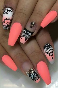 Cugap Artificial Short Full Cover False Fake Matte Nails Art Tip DIY For Women Teens Girls - Cute Nails Club - Matte Nail Polish India the Matte Black Fake Nails - Neon Nail Designs, Acrylic Nail Designs, Acrylic Nails, Nails Design, Coffin Nails, Coral Nails With Design, Coral Design, Neon Nails, Diy Nails