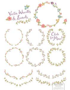 Vintage Vector Flower Wreaths by Amanda Ilkov on @creativemarket