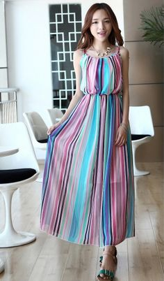 Striped chiffon beach dress blue