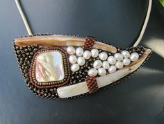 fanciful pendant with beads and pearls