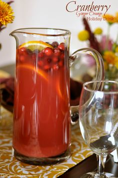 Cranberry Ginger Orange Holiday Drink - 4 ingredients - easy and SO good! This is my holiday go-to drink for guests!