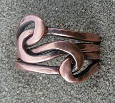 Knot ring, Lovers Knot,  Infinity Ring, Forged , 12 gauge Copper wire