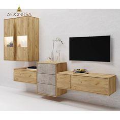 Σύνθεση τηλεόρασης CITY6031, 255x38,5x165. Αποτελείται απο 2 βιτρίνες οι οποίες διαθέτουν φωτισμό Led. Χρώμα σκούρο Sonoma. IR-CITY6031 Από την Alphab2b.gr Floating Nightstand, Living Room, Table, Led, Furniture, Home Decor, Products, Floating Headboard, Decoration Home