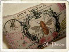 Vintage French Crested Bee Postcard Sachet with by Obeedesigns, $9.00