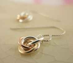 Sterling Silver, 14kt Rose and Yellow Gold Little Cuties Earrings. $30.00, via Etsy.