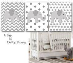Nursery Wall Decor-Childrens Room Decor-Gray Chevron Nursery-Harper Pottery Barn-Set of 3 Art Prints-Elephant Decor-Chevron Polka Stars on Etsy, $35.00